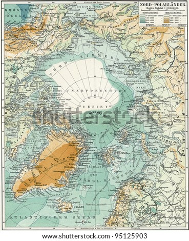 """North Pole. Map of the ocean, islands and land around it. Publication of the book """"Meyers Konversations-Lexikon"""", Volume 7, Leipzig, Germany, 1910"""