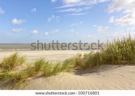 North Sea beach and dunes at Knokke-Heist, Belgium