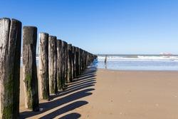 North Sea, Cadzand-Bad, beach posts along the coast.