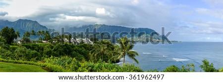 North Shore of Kauai - Panoramic view of Hanalei Bay Overlook at the north shore of Kauai, Hawaii, USA.