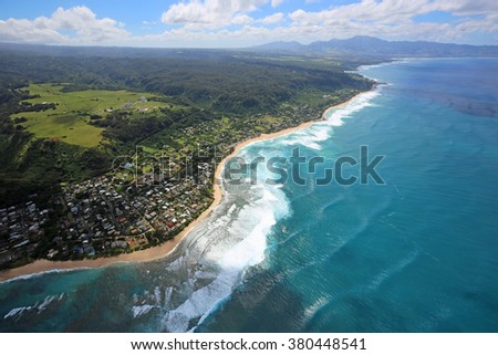 North Shore of Oahu - view from helicopter - Oahu, Hawaii