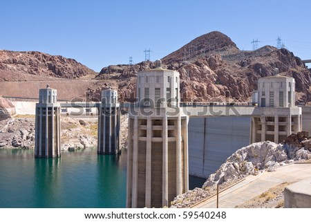 North side view of the hoover dam in Nevada/ Arizona, USA