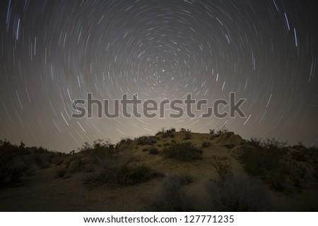 North star mojave desert night in California's Joshua Tree National Park