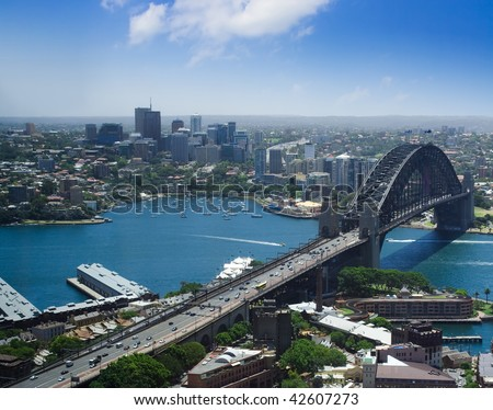 North Sydney city Australia harbor bridge the Rocks top view