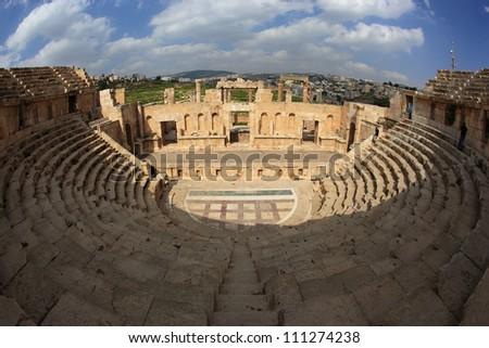 north theater in ancient city of jerash, jordan