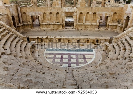 north theater in ancient city of jerash, jordan