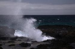 North west coast of Gran Canaria, Canary Islands, Puerto de las Nieves area, flying sea foam