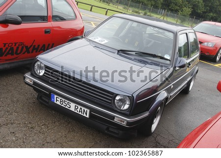NORTHAMPTON, ENGLAND - SEPTEMBER 7: Volkswagen Golf on September 7, 2008 in Northampton, England, UK. Silverstone Race Circuit is Host to Annual Trax Automotive Show