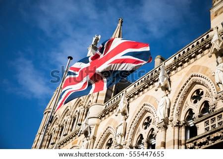 Northampton guildhall - with British flag