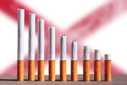 Northen Ireland: Reducing tobacco sale. The number of smokers decreases in northen Ireland. Healthy lifestyle growth. Chart from cigarettes.