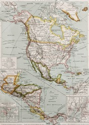 Northern and Central America old map, with New York city insert map. By Paul Vidal de Lablache, Atlas Classique, Librerie Colin, Paris, 1894 (first edition)