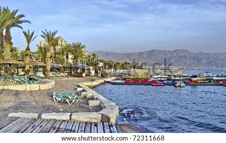 Northern beach, water sport and entertainment facilities in Eilat city, Israel