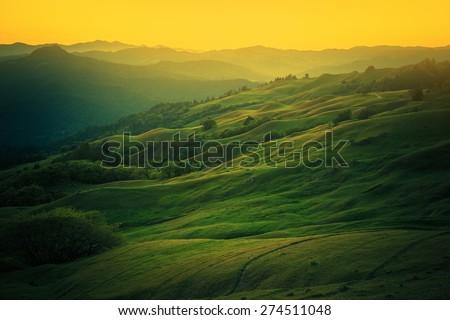 Northern California Landscape. Scenic Vista East From Eureka, Humboldt County, California, United States.