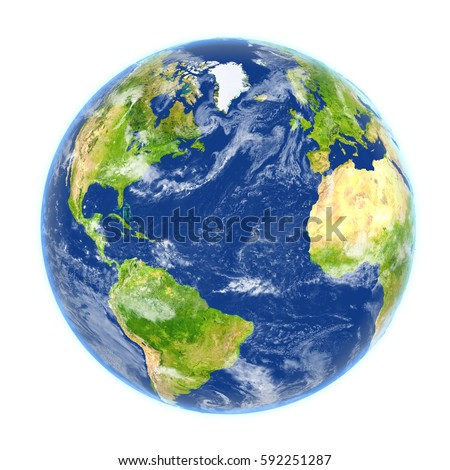 Northern Hemisphere on planet Earth. 3D illustration with detailed planet surface isolated on white background. Elements of this image furnished by NASA.