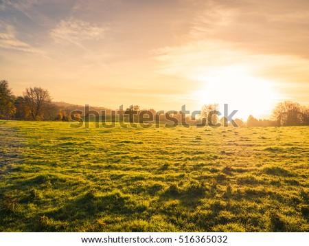 Northern Ireland farm sunset