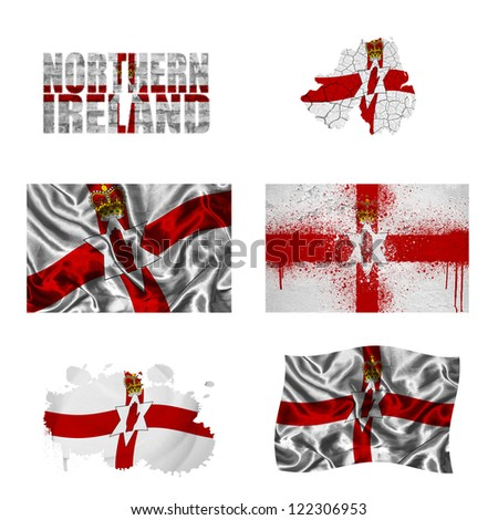 Northern Ireland flag and map in different styles in different textures