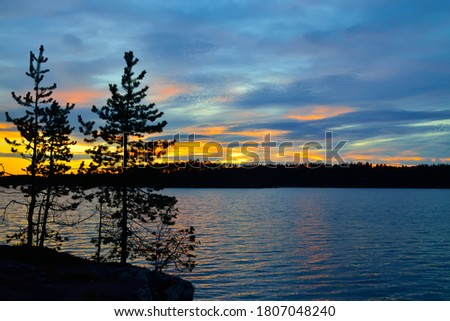 Northern landscape at sunset on lake Keret, Northern Karelia, Russia Stock fotó ©