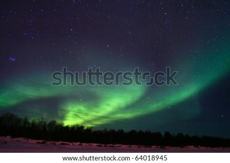 Northern lights (aurora borealis) display near Kaamanen, Finland - stock photo