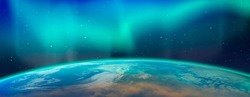 Northern lights aurora borealis over the planet Earth