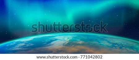 Northern lights aurora borealis over the planet Earth 'Elements of this image furnished by NASA' Stock photo ©