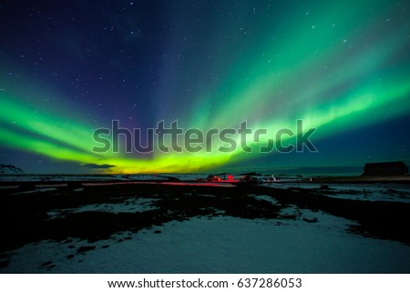 Northern Lights Dancing with Stars in Iceland #637286053