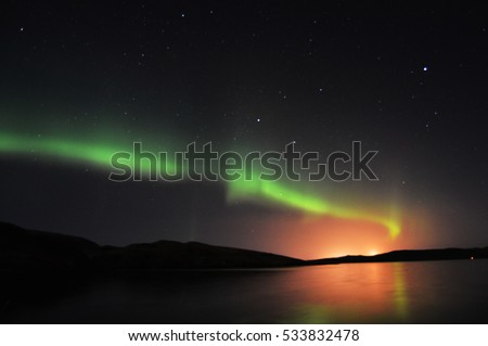 Northern lights in Scotland/Northern lights on Shetland Islands, Scotland in January #533832478