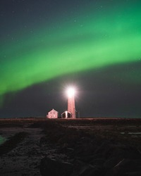 Northern lights over the Grotta Lighthouse in Iceland. Sights to be seen. Aurora Borealis. Simple composition