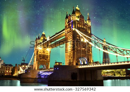 Northern Lights over Tower Bridge in London, UK / Elements of this image furnished by NASA