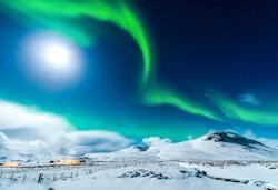 Northern lights sky in Alaska winter night landscape. Aurora borealis Alaska