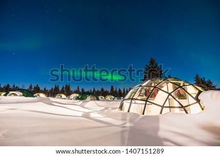 Northern lignt in Finland over Igloo house  Stockfoto ©
