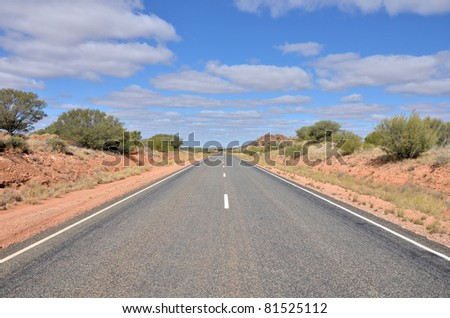 Northern Territory Highway in a Sunny Winter Day, Australia
