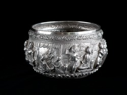 Northern Thai or Burmese sculpted vintage silver bowl, handmade