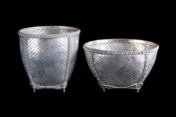Northern Thai or Burmese woven vintage silver bowl, handmade