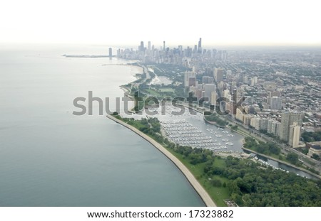 Northern view of Chicago's skyline on an overcast day