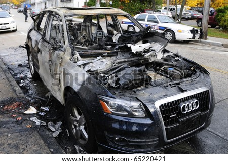 NORTHPORT, NEW YORK - NOV 15: This new Audi was consumed by fire caused by an apparent electrical short on a Northport, NY street in Northport, NY on November 15, 2010. No one was hurt.