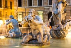 Northward view of the Piazza Navona with the fontana del Moro (the Moor Fountain) Rome, Italy