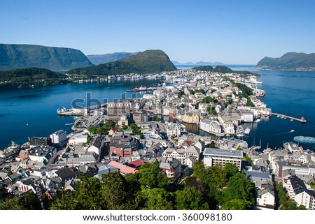 Norway a view of the city of Stavanger from an observation deck. Summer, sunny day, clear clear sky