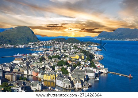 Norway, Alesund town panoramic view, Norwegian fjords.