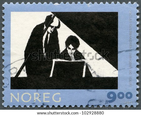 NORWAY - CIRCA 2003 : A stamp printed in Norway shows Conductor and Soloist, by Niclas Gulbrandsen, series Graphic Arts, circa 2003