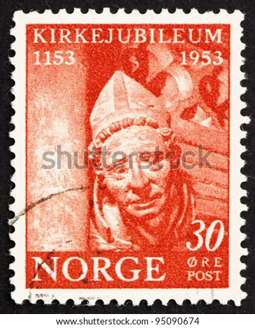 NORWAY - CIRCA 1943: a stamp printed in the Norway shows Medieval Sculpture, 800th Anniversary of the Norwegian Archbishopric of Nidaros, circa 1943