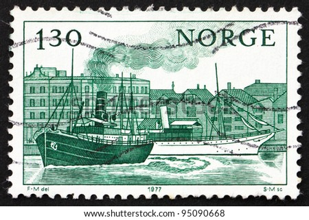 NORWAY - CIRCA 1977: a stamp printed in the Norway shows Norwegian Ships Kong Haakon 1904 and Dronningen 1893 of Stavanger, circa 1977