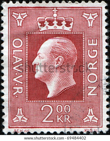 NORWAY - CIRCA 1957: A stamp shows image portrait to the Olav V (2 July 1903 - 17 January 1991) was the king of Norway from 1957 until his death, circa 1957