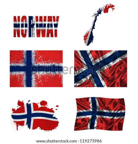 Norway flag and map in different styles in different textures