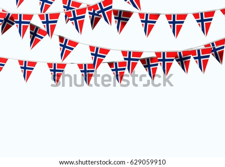 Norway flag festive bunting against a plain background. 3D Rendering #629059910