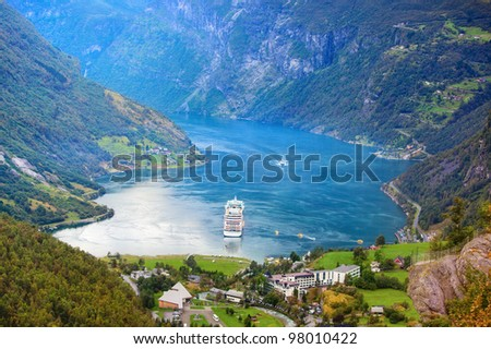 Norway Geiranger fjord. View from mountain.
