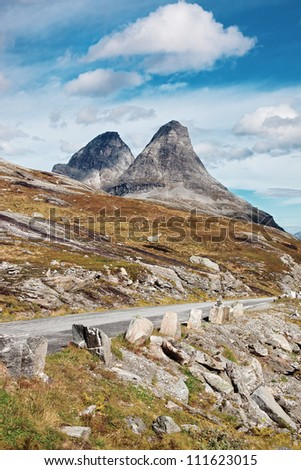 Norway high mountains rocky landscape.
