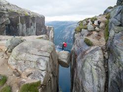 Norway Kjeragbolten Jump taken in 2017