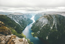 Norway Landscape fjord and mountains aerial view Naeroyfjord beautiful scenery scandinavian natural landmarks