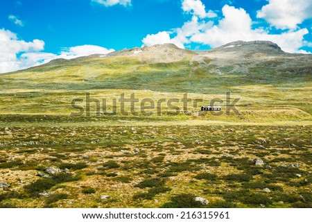 Norway Nature Landscapes, Mountain Under Sunny Blue Sky #216315961