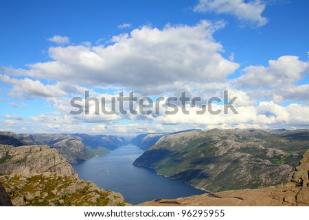 Norway, Rogaland county. Beautiful view of Lysefjorden from the trail to Preikestolen. - stock photo